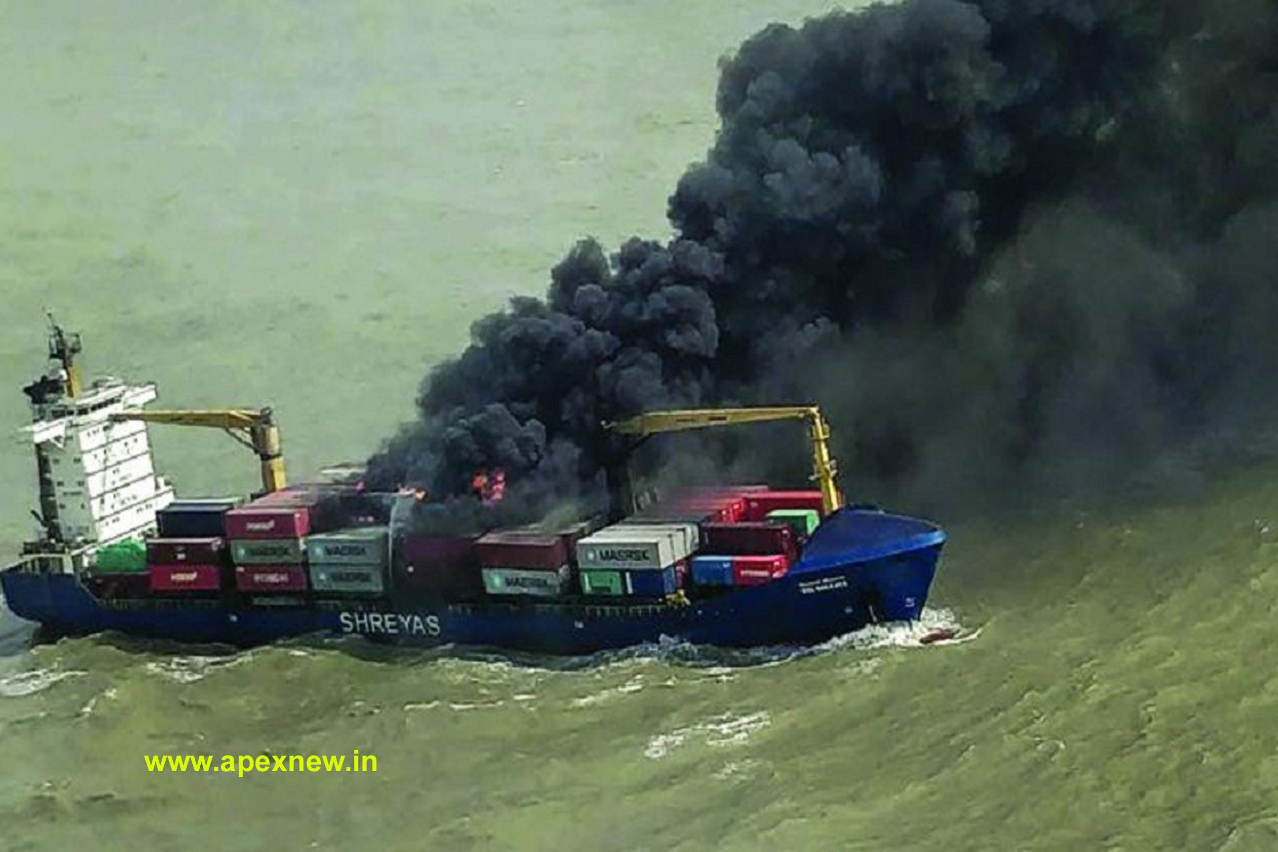Terrible fire on a ship in the Bay of Bengal